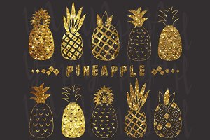 Chalkboard Glitter Pineapple Set