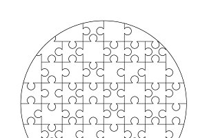 52 white puzzles pieces template