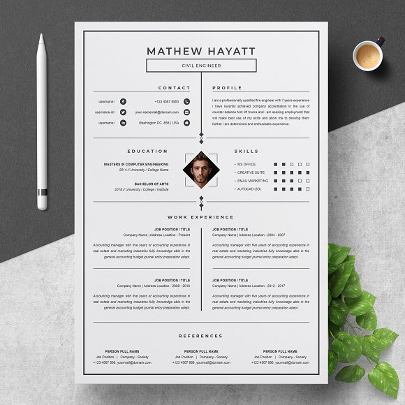 One Page Resume Template | Creative Daddy