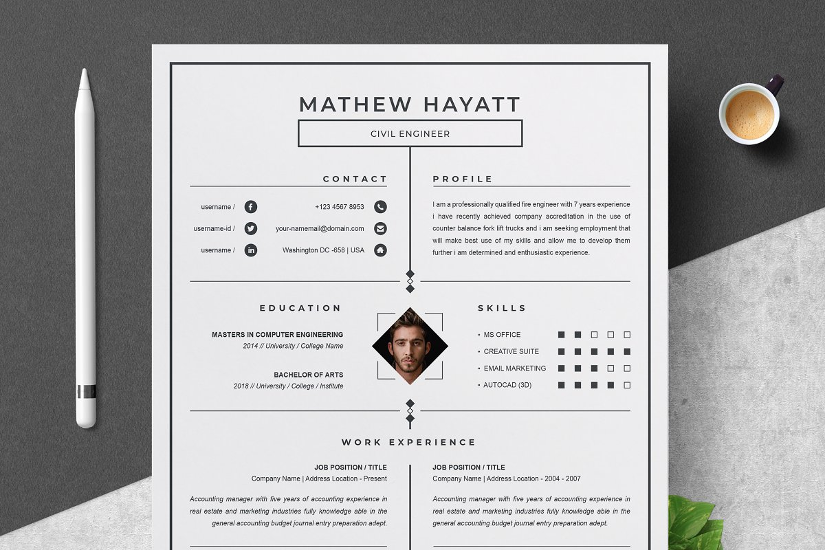 One Page Resume Template Creative Daddy