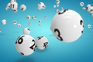 Composite image of falling lottery b