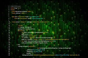 Simple HTML code on green matrix