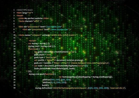 Simple HTML Code On Green Matrix Illustrations Creative Market