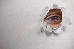 Composite image closeup of human eye