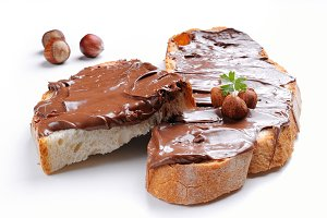 Bread with chocolate cream isolated