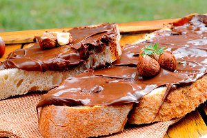 Bread with chocolate cream outdoor