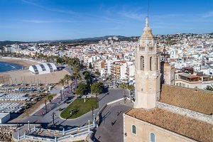 Sitges (Barcelona) seen from a drone