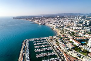 Sitges (Barcelona) in view of drone