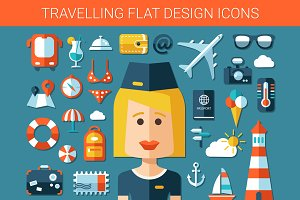 Travel Flat Design Icons Set
