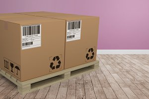 Composite image of cardboard boxes
