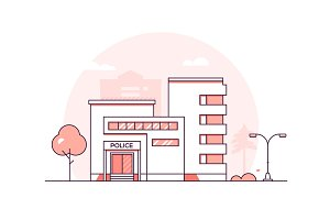 Police station - line illustration