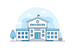School building - line illustration