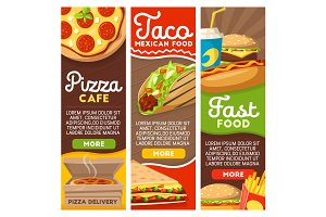 Fast food pizza and Mexican tacos