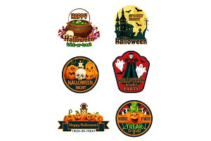 Halloween night party labels