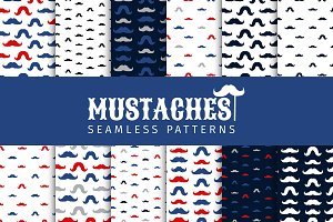 Moustache Vector Seamless Patterns