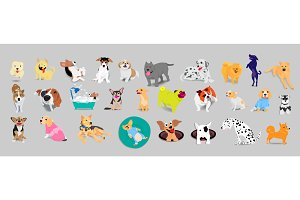 Set of dogs, vector illustration