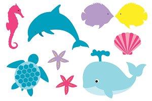 ocean wildlife set