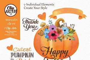 Watercolor Pumpkin, Fall clip Art