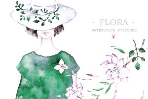 Flora. Watercolor card
