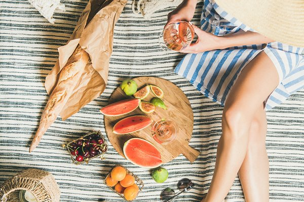 Stock Photos - Picnic concept with woman in dress
