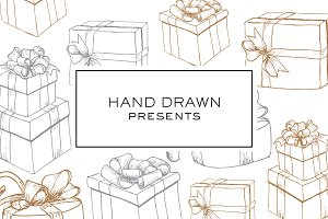 Hand Drawn Christmas Wrapped Present