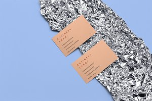 Business cards mockup on foil