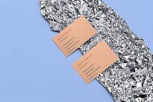 Business cards mockup on foil