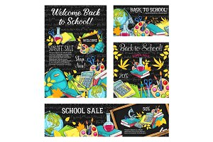 Back to school sale banners