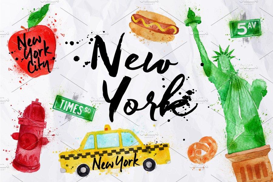 New York Symbols Illustrations Creative Market Pro