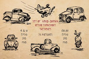Set of hand-drawn transport -70% OFF