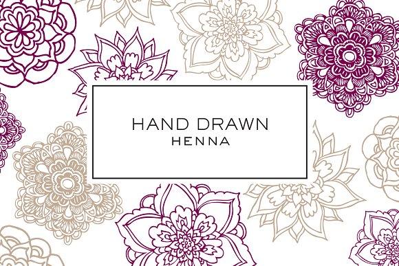 Hand Drawn Henna Clipart Illustrations Creative Market