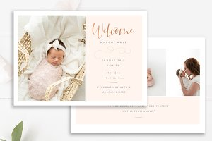 Girls Birth Announcement PSD