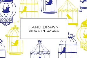Hand Drawn Bird in Cage Clipart