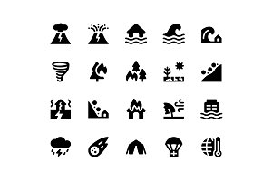 Disaster Glyph Icons