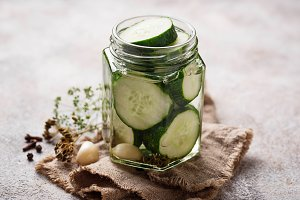 Homemade pickled cucumbers in jar