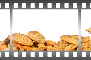 Bread and pastries in frame of film.