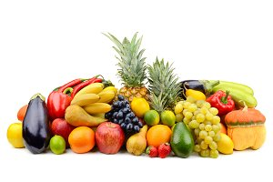 Assortment of fruits, vegetables, be