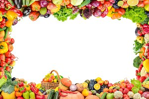 Frame healthy fruits and vegetables