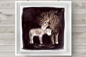 Watercolor Mother & Baby - Sheep