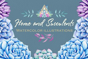 Home and Sacculents. Watercolor set