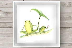 Watercolor Mother & Baby - Frogs