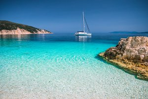 Beautiful azure blue lagoon with