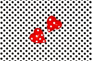 Red hearts black white background