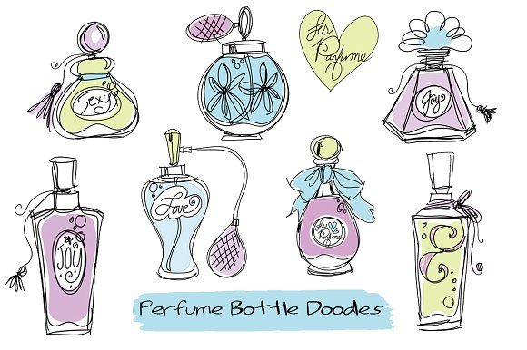 Doodle Perfume Bottles Clipart ~ Illustrations ~ Creative ...