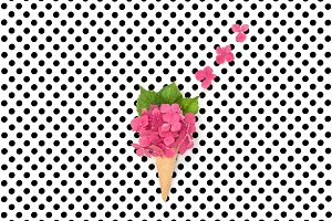 Pink hortensia flowers ice cream