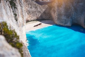 Navagio beach with turquoise blue