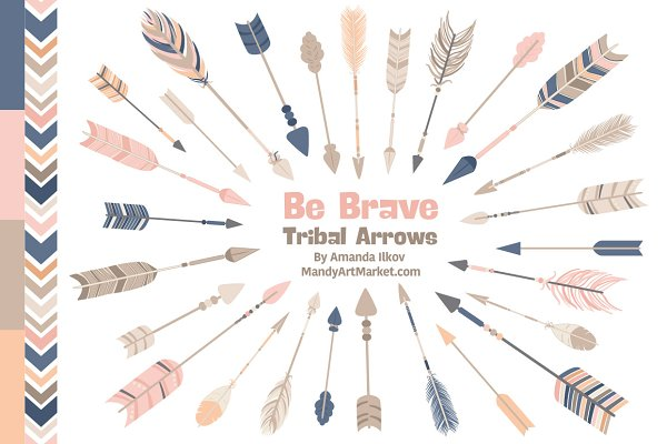 Navy & Pink Tribal Arrows Clipart