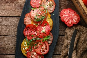 Fresh ripe tomatoes and sliced