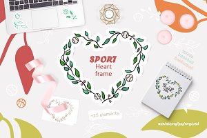 Sport heart frame. Tennis. Baseball.