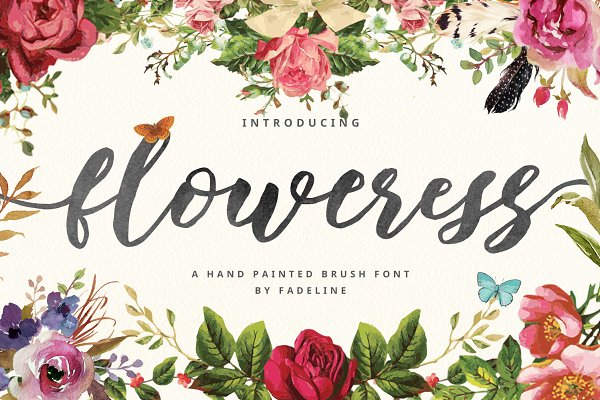 Fonts: FadeLine - Floweress - Hand Painted Brush Font